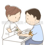採血をする女性看護師のイラスト(カラー版)