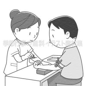 採血をする女性看護師のイラスト(白黒版)