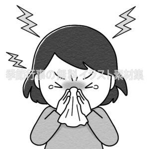 鼻をかむ人のイラスト(白黒版)