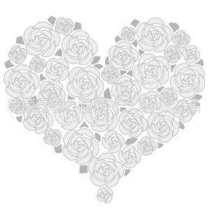 バラのハートのイラスト(白黒版)