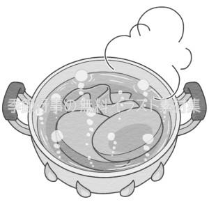 鍋でお皿などを煮立たせて消毒しているイラスト