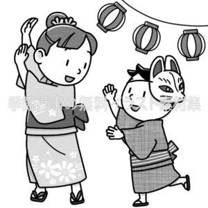 盆踊りのイラスト(白黒版)