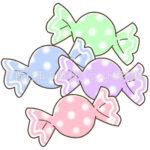 カラフルな包みのアメ玉(キャンディ)(カラー版)