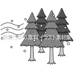 花粉を飛ばす杉の木のイラスト(白黒版)