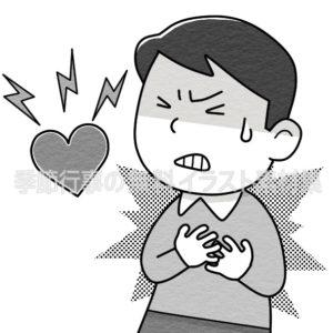 胸を押えて苦しむ男性のイラスト(白黒版)