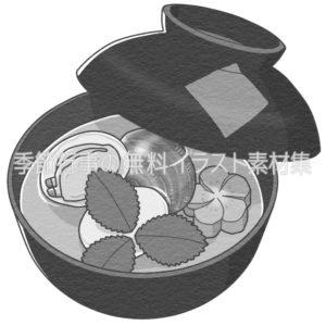 ハマグリ(蛤)のお吸物のイラスト(白黒版)