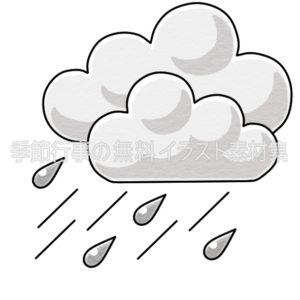 雨のマークのイラスト(白黒版)
