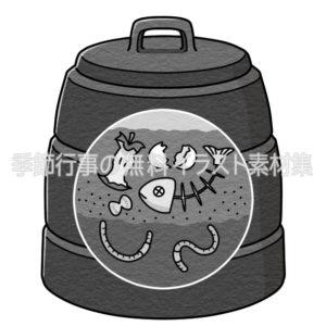 コンポスト・コンポスター(コンポスト容器)のイラスト(白黒版)