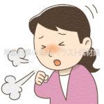 咳(せき)をする女性のイラスト(カラー版)