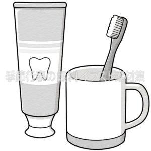 歯ブラシとコップと歯磨き粉のイラスト(白黒版)