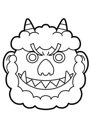 鬼の顔のぬりえ(A4印刷用)
