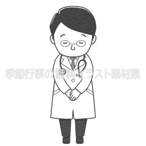 お辞儀をする男性医師のイラスト(白黒版)