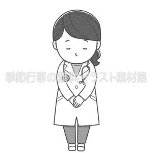 お辞儀をする女性医師のイラスト(白黒版)