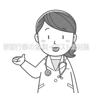 案内・紹介する女性医師のイラスト(白黒版)
