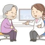 高齢の女性患者に説明をしている女性医師のイラスト(カラー版)です