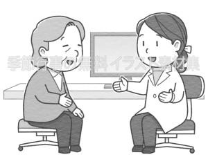 高齢の女性患者に説明をしている女性医師のイラスト(白黒版)です