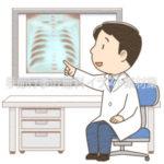 レントゲン写真で病状を説明する男性医師のイラスト(カラー版)