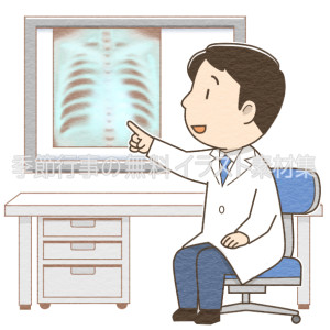 レントゲン写真の説明をする男性医師のイラスト
