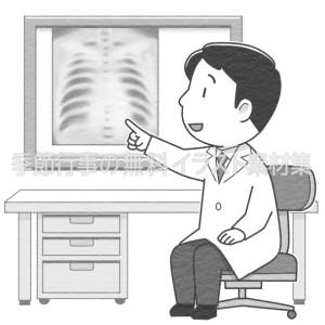 レントゲン写真で病状を説明する男性医師のイラスト(白黒版)