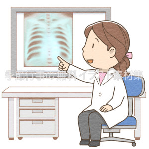 レントゲン写真で病状を説明する女性医師のイラスト(カラー版)です