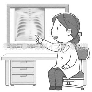 レントゲン写真で病状を説明する女性医師のイラスト(白黒版)です