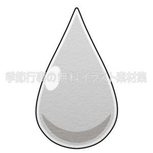 水のしずくのイラスト(白黒版)