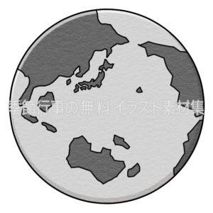日本列島が見えるデフォルメされた地球のイラスト(白黒版)