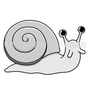 カタツムリ(蝸牛)のイラスト(白黒版)