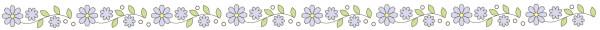 青いお花のライン素材