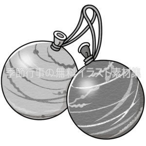 ヨーヨー風船のイラスト(白黒版)