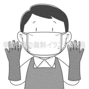 ゴム手袋とマスクをつけた人のイラスト(白黒版)