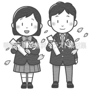 学生が卒業証書を手に持っているイラスト(白黒版)