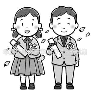 卒業式(小学校)のイラスト(白黒版)