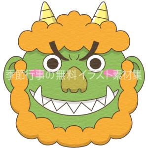 緑鬼の顔のイラスト