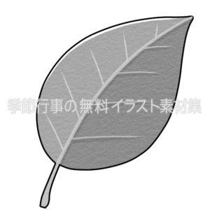 葉っぱのイラスト(白黒版)