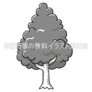 木のイラスト(白黒版)