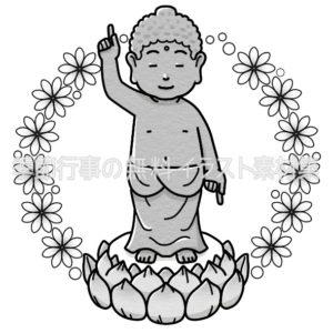 花まつり(釈迦誕生仏像)のイラスト(白黒版)