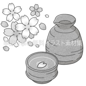 桜の花と日本酒のイラスト(白黒版)