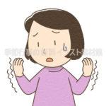 手が震えている女性のイラスト(カラー版)