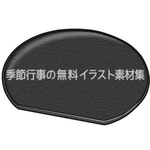 黒い半月皿のイラスト(白黒版)