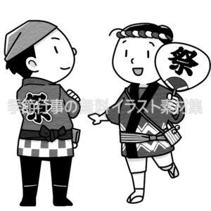 法被を着た男の子と女の子のイラスト(白黒版)