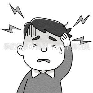 頭痛でつらそうにしている男性のイラスト(白黒版)