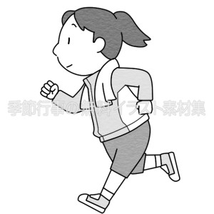 ジョギングをする女性(白黒版)