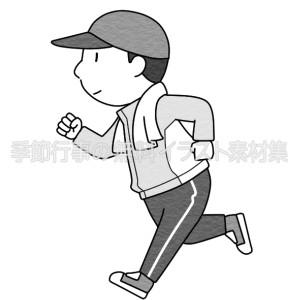 ジョギングをする男性(白黒版)