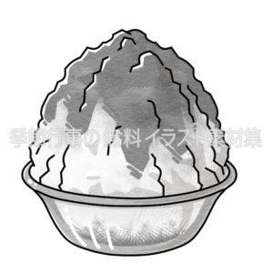 かき氷のイラスト(白黒版)