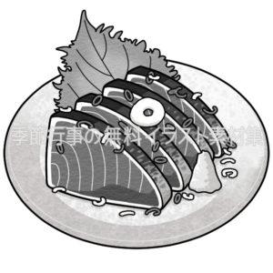 カツオのたたきのイラスト(白黒版)