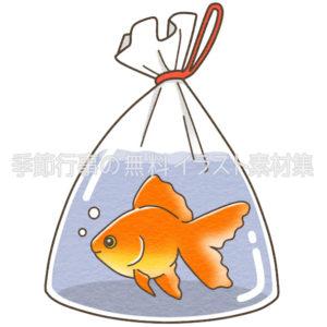 袋に入った金魚のイラスト 季節行事の無料イラスト素材集