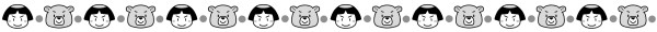金太郎と熊のライン素材(白黒版)