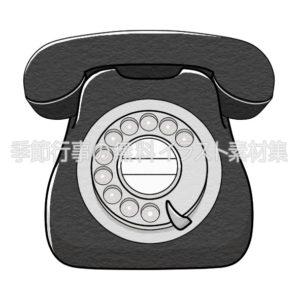 黒電話(ダイヤル式電話)のイラスト