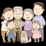 大家族(親子三代)のイラスト(カラー版)